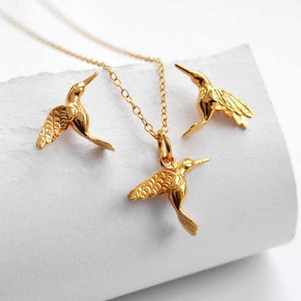 Gold Hummingbird Jewellery Set