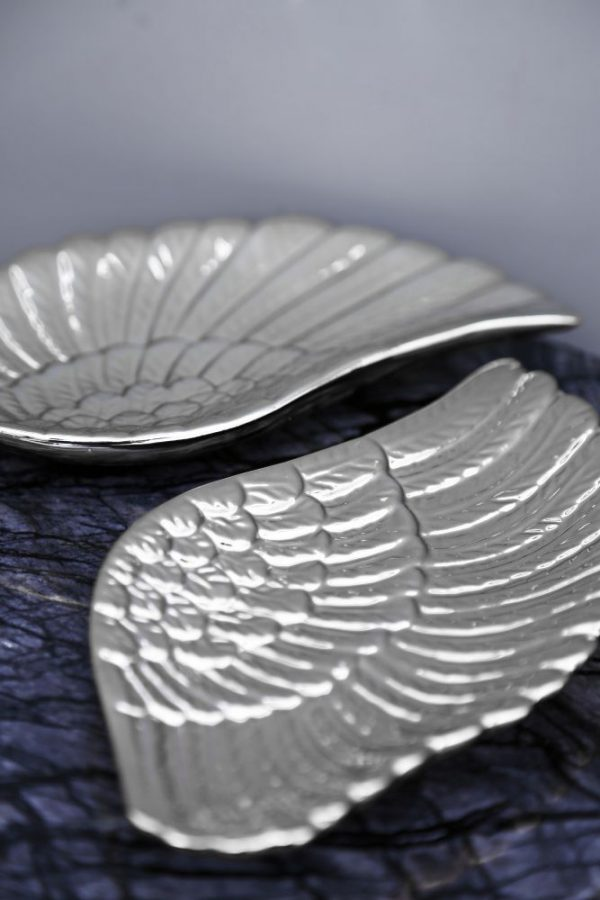 Boho Silver Angel Wing Trinket Dishes