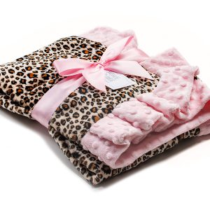 Luxury Pink & Animal Print Baby Receiving Blanket